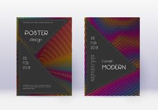 Black cover design template set. Rainbow abstract. Lines on wine red background. Adorable cover design. Stunning catalog, poster, book template etc vector illustration