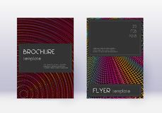 Black cover design template set. Rainbow abstract. Lines on wine red background. Amazing cover design. Radiant catalog, poster, book template etc royalty free illustration