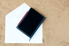 Black cover of  white note book Royalty Free Stock Photography