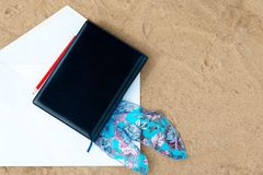 Black cover of  white note book Royalty Free Stock Image