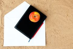 Black cover of  white note book Royalty Free Stock Photo