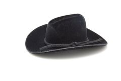 Black Cowboy Hat. A photo of a black cowboy hat over a white background Royalty Free Stock Photos