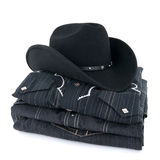 Black cowboy hat and clothes Stock Photo