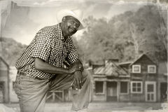 Black Cowboy in the Old West Royalty Free Stock Images