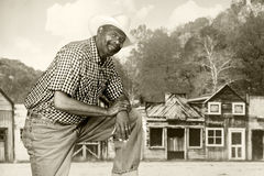 Black Cowboy in the Old West Stock Photos