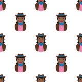 Black Cowgirl Avatar Seamless Pattern Stock Photography