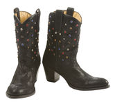 Black cowgirl boots pari with gems Stock Photos