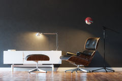 Black Cozy Leather Armchair In Modern Interior 1st Version Stock Photography