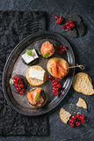 Black crackers with salmon and berries Royalty Free Stock Photography