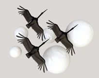 Black Crane Birds and White Spheres Royalty Free Stock Photos