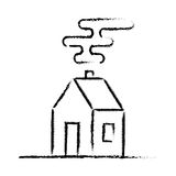 Black crayon house sketch. House drawing on white background royalty free illustration