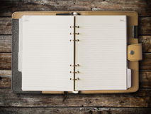 Black and cream leather cover of binder Stock Photo