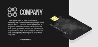 Black credit card with world map and security symbols. Banking concept banner. Business serious style for the site. Black credit card with world map and Stock Image
