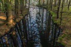 Black creek near Kladska village in Slavkovsky les mountains. In autumn morning Stock Photo