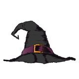 Black creepy witch hat with violet belt isolated on a white background. Color line art. Halloween retro design. Stock Photography