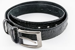 Black Crocodile Textured Leather Belt Stock Photo