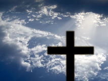 Black cross. Cross against sky Royalty Free Stock Photo