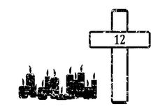 Black Cross with 12 candles Royalty Free Stock Image