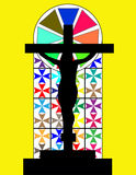 Black Cross on The Colorful Cristal Wall in Temple Royalty Free Stock Photo