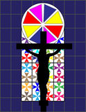 Black Cross on The Colorful Cristal Wall in The Temple Royalty Free Stock Photography