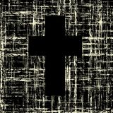 Black cross on grunge background textures Royalty Free Stock Image