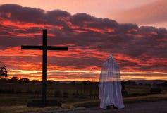 Black Cross and Jesus Christ Stock Photo