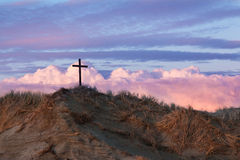 Black Cross Sand Dune Stock Photo
