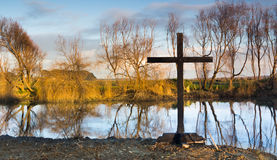 Black Cross of Winter Stock Photography