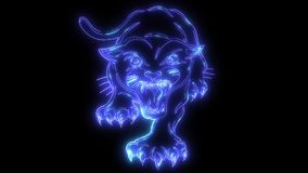Black crouching panther. video laser animation. Black crouching panther. video animation vector illustration