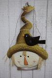 Black Crow Braves the Brim of Smiling Scarecrow Hat Royalty Free Stock Photo