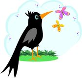 Black Crow with Butterflies Royalty Free Stock Photo