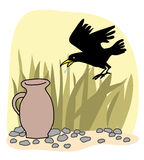 Black crow and a jug Aesops Fables Stock Photos
