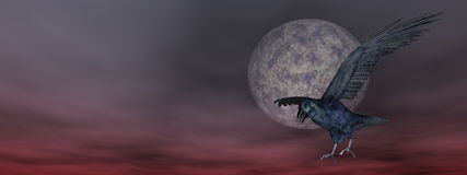 Black crow by night - 3D render Royalty Free Stock Photos