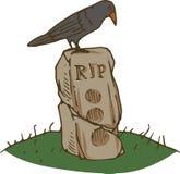 Black Crow and Old Gravestone stock illustration