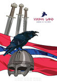 Black crow sitting on a Viking helmet, three swords on the background of the Norwegian banner Stock Photo