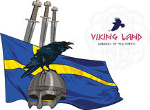 Black crow sitting on a Viking helmet, three swords on the background of the Sweden banner Stock Images