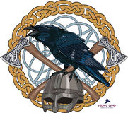 Black crow sitting on a Viking helmet with two crossed axes on background Scandinavian pattern Royalty Free Stock Photography