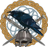 Black crow sitting on a Viking helmet with two crossed swords on background Scandinavian pattern Royalty Free Stock Image