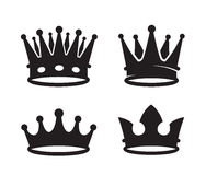 Black crown icons. Vector black crown icons on white background Royalty Free Stock Image
