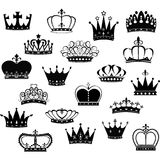 Black Crown Silhouette Collection Stock Photos
