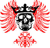 Black Crowned Skull on  Wings. Royalty Free Stock Photos
