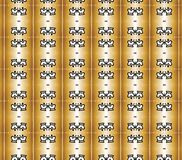 Black crowns on golden columns pattern Royalty Free Stock Photos