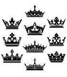Black crowns set for heraldry Royalty Free Stock Images