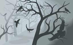 Black crows in a terrible foggy forest. stock illustration