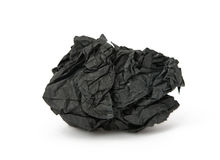 Black crumpled paper isolated Stock Image