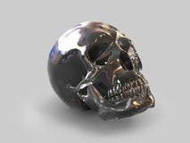 Black Crystal Skull 1. The skull of the person is made of a crystal of transparent black quartz, on a grey background Stock Photography