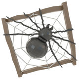Black crystal spider in a wooden nest (3D) Royalty Free Stock Photo
