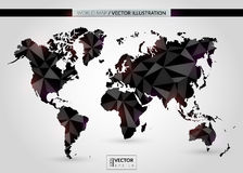 Black crystal world map. Vector illustration. EPS 10 Stock Photos