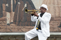 Black cuban musician playing the trumpet Stock Photography