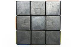 Black  cube. Black squares cube isolated on white Stock Photos